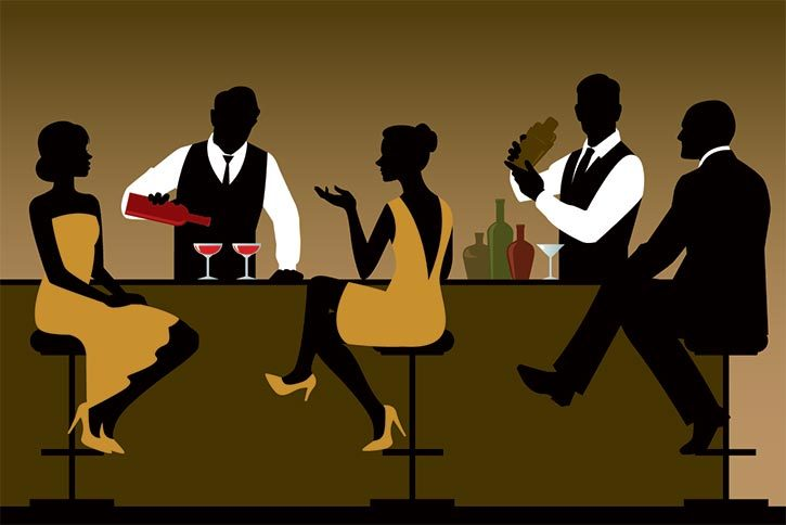 illustration of woman at a cocktail bar - sihouettes