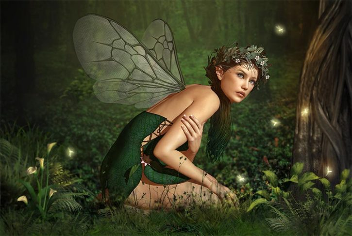 Absinthe fairy in a green meadow